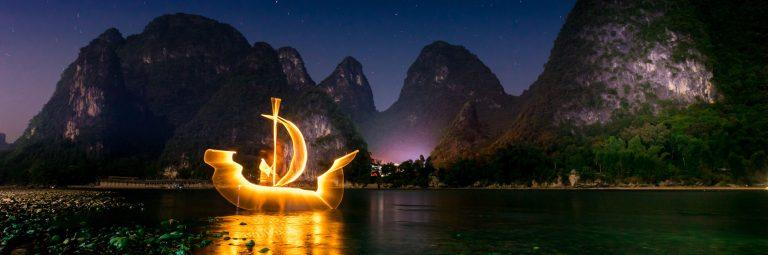 Light Painting Boat