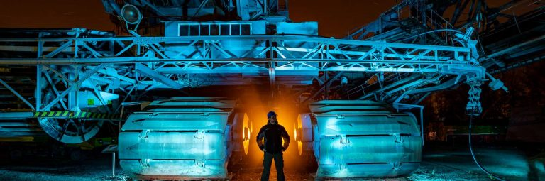 Light Painting Excavator Gunnar Heilmann