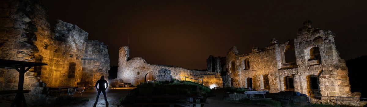 light painting castle ruin