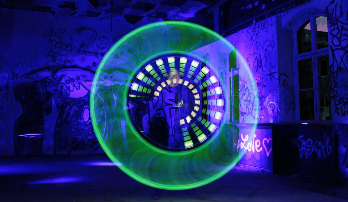 Light Painting by Gunnar-Heilmann in Berlin, Spindlersfeld. Inside the Circle you'll find my face.
