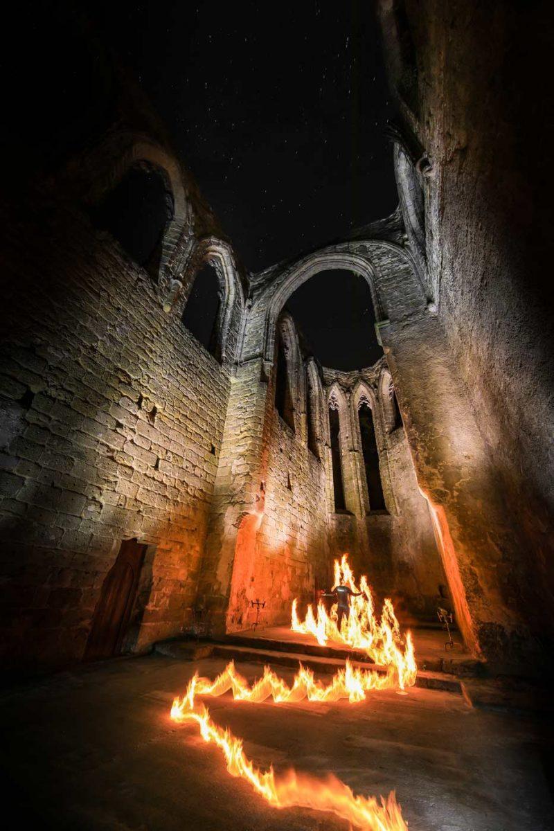 Fire Light Painting Oybin Monastery