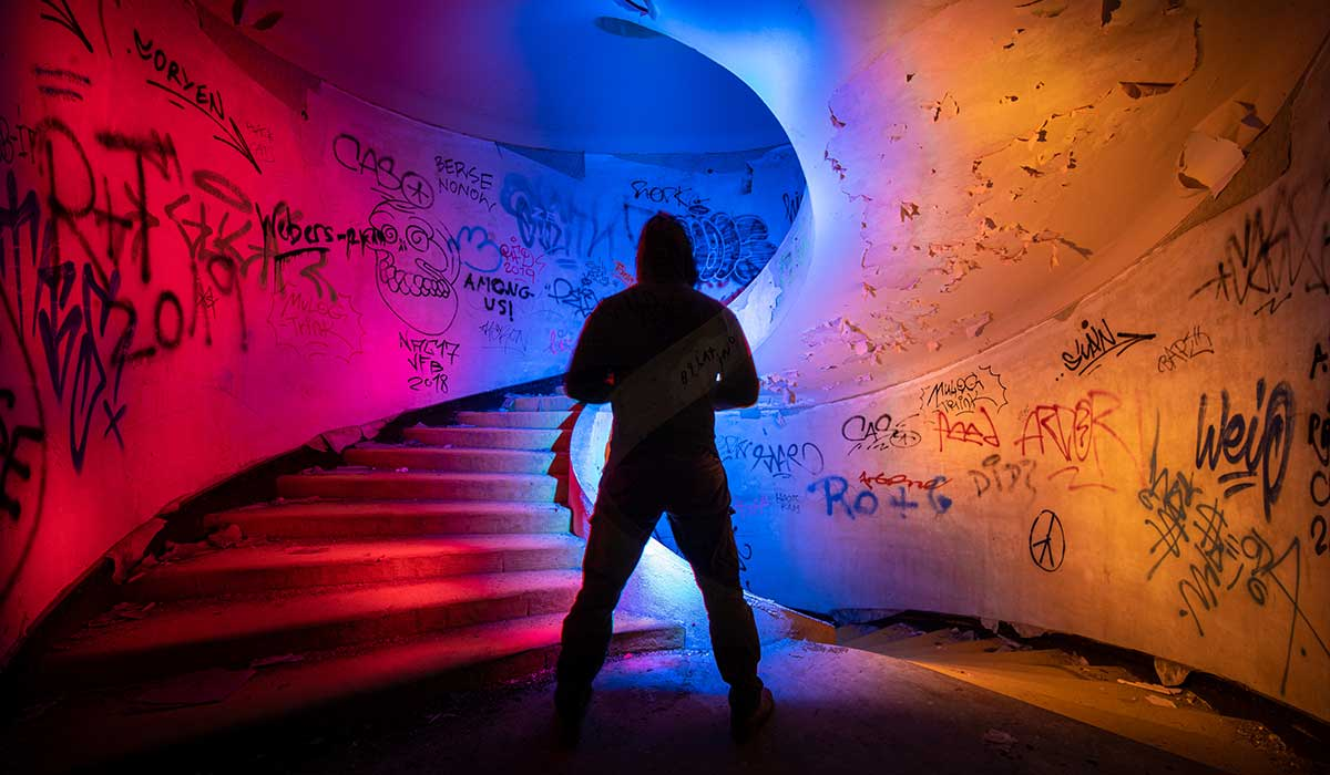 Stair Case Light Painting Selfie